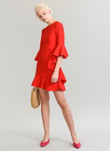 People By Fabrika Etek ve Kolları Volanlı Elbise Kırmızı